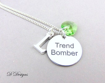 Personalised Necklace, Trend Bomber Pendent, Funny Quote Necklace, Personalised Jewellery, Sterling Silver Necklace, Funny Quote Gifts