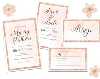 Printable Wedding Invitation, Save the date and RSVP card