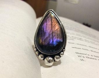 Purple Labradorite Sterling Silver Ring