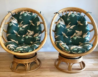 Pair of Bamboo Egg Chairs