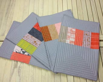Set of Four Place Mats, Place Mats, Quilted Place Mats, Modern Place Mats, Placemats Set of Four Quilted Place Mats,