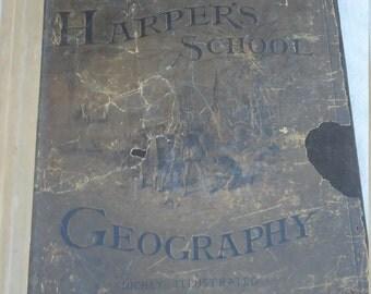 1885 Harper's school Geography book