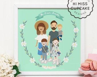 Custom Illustrated Family Portrait // Customizable Print or Printable // Mom Birthday Gift // Illustration Housewarming Gift
