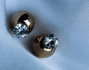 14 karat Gold double-sided earrings, diamond, 14 karat prong, 14 karat gold ball, studs, minimalist, trend, cubic zirconia, jewelry