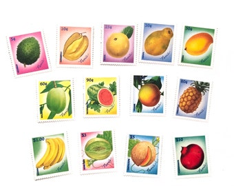 Nevis Fruit Selection - Mint Never Hinged postage stamps - feeling fruity! All different- Fruits - Banana Pineapple Mango Papaya Guava