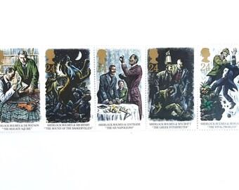 5 x Sherlock Holmes UNused GB 24p - 1993 Mint MNH Vintage Postage Stamps Hound Baskervilles Baker Street - for postage, mail art, collecting