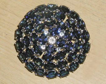 "Large 1-3/4"" Vintage Faceted Blue Sapphire Multi Stone Brooch Pin- Signed Made in Czechoslovakia"