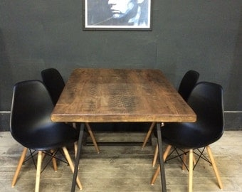 Vintage Industrial Rustic Reclaimed Plank Top Dining Table with Triangle Steel Base (Handmade UK) and 4 chairs
