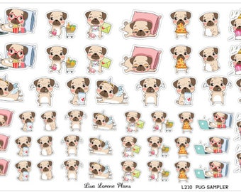 PUG Sampler Planner Stickers   Regular and Mini Size   perfect for most planners   L210
