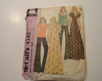 McCalls Vintage 1974 Maxi Dress and Blouse Sewing Pattern Misses Size 10 Bust 32 1/2
