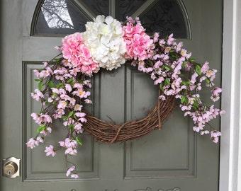 SALE! Spring grapevine floral wreath with hydrangeas, year round front door wreath, door wreath, spring wreath, hydrangea wreath