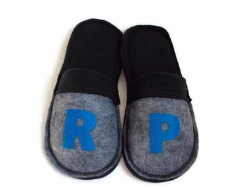 Men House Shoes, Monogrammed Custom Gift for Him, Felt Slippers w/ Fleece Lining, Personalized, Color Options, Soft Sole Indoor Scuffs