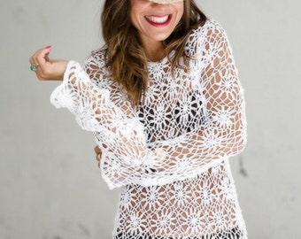 Crochet beach tunic PATTERN, trendy tunic PATTERN, detailed instructions in American terms, motif crochet tunic pattern, beach crochet tunic