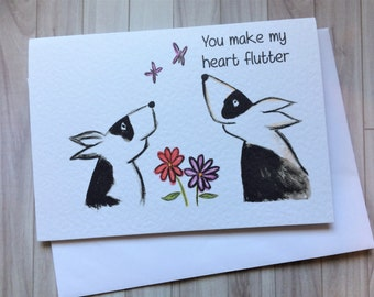 You make my heart flutter, valentines card, dog valentines card, fun valentines card, lovers card, love you card, bull terrier card