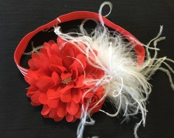 Christmas Headbands  Red White Christmas Headband Christmas Baby Headband Red White Flowers Headband Holiday Baby Headband