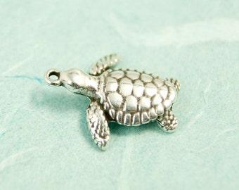1x turtle charm antique silver pl. 20mm #3999
