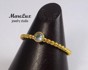 Rope 3 mm Aquamarine Stackable Gold Ring, Light Blue Synthetic Aquamarine Stackable Ring 24K Gold Plated Braided Aquamarine Engagement Ring