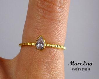 24K Gold Aquamarine Textured Silver Ring, 5x3 mm Pear Cut Simulate Aquamarine Yellow Gold Plated Silver Ring, Blue CZ Stacking Textured Ring
