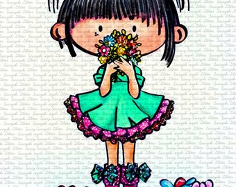 Image #48 - Lucy In The Garden - Sasayaki Glitter Digital Stamps - Naz - Line art Only - Black and White