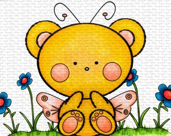 Butterfly Teddy Digital Stamp by Sasayaki Glitter