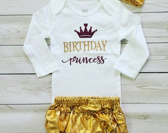 Birthday princess glitter T-shirt with Gold ruffle diaper pants and headband, Birthday Girl outfit, custom made Birthday 3 pc outfit