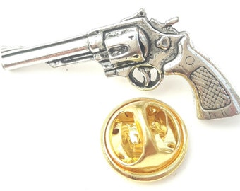 Colt 45 Pistol Gun Handcrafted from English Pewter in the UK Lapel Pin Badge