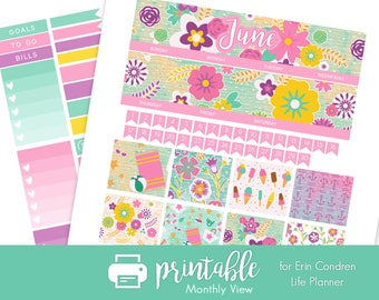 50% Off Printable Planner Stickers June Monthly View Kit! Beach Life Theme! w/ Cut Files! for use with Erin Condren Life Planner!