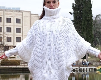 Ready,new,  white ,Hand knitted poncho, women's ,Mohair Sweater soft VERY THICK WARM Turtleneck Pullover,dense