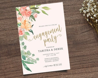 Engagment Invite, Gold Calligraphy Invite, Boho Chic Invite,  Leafy Invitation, Handpainted Invite, Calligraphy Invite, Printable Invite