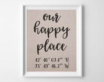 Our Happy Place | 100% Linen Anniversary Gift | Latitude Longitude Linen Print | GPS Coordinates | Personalized Boyfriend Girlfriend Gift