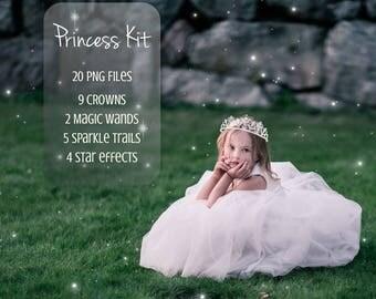 Princess Kit, 20 PNG, Photoshop overlay, Fantasy, Magic wand, Tiara, Magical fairy, Glitter trail, Star trail, Sparkle trai, Crown,