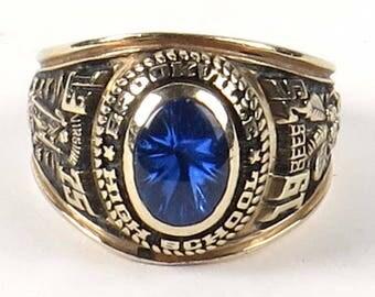 10k gold class ring Brookville HS Lynchburg VA 1975 Herff Jones vintage blue size 4.75