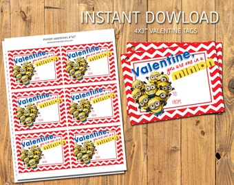 MINIONS VALENTIES - You are one in a MINION - Instant Download - Digital/Printable