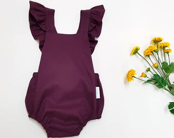 Mulberry romper, Baby girl playsuit, toddler romper, baby girl outfit, newborn romper, coming home outfit, plum boho playsuit