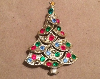 Vintage Christmas Tree Pin Rhinestones Midcentury Much Sparkle and Color!
