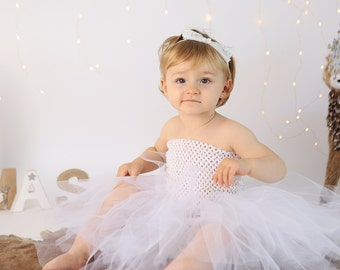 White Tutu Skirt with Adjustable Size 1-4T for Flower Girl, Christening, Birthday or Photography