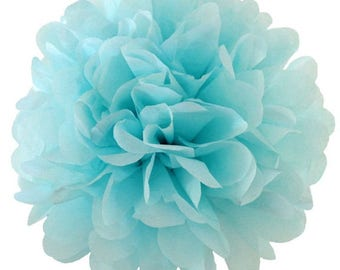 Aqua Blue Tissue Paper Poms,Hanging Decorations,Diy,Tissue Paper Decorations,Wedding,Birthday,Baby Shower,Party Backdrops,Pom Pom BouQuet