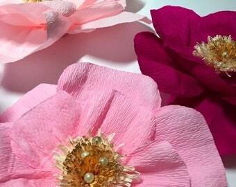 Glitter Pearl Paper Flower Wall, Nursery Decor, Crepe Paper Flowers, Little Girl Room, Baby Shower Gift