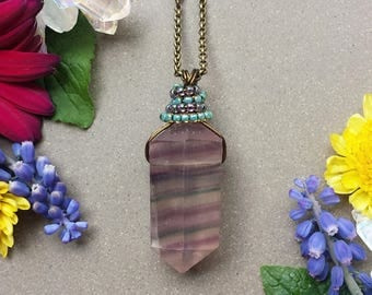 Wire Wrapped Rainbow Fluorite Crystal Point Necklace in Antique Brass >> Purple, Green & Crystal Striped Fluorite, Gemstone Jewelry, Boho