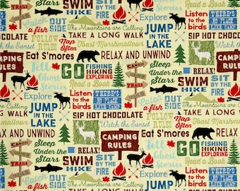 Great Outdoors Camping Words by Timeless Treasures, Travel Vacation Cookout Fabric