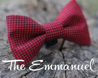 Red and Black Houndstooth Cotton Twill  Removable Bow Tie for Dog Collars - The Emmanuel - Holiday Series - Dogs- Pets -checkered