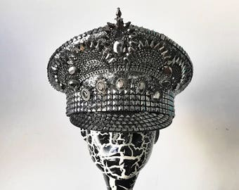 "FREE SHIPPING! ""Crowning Glory"" Military Hat in gunmetal. Captain Hat. Burning Man Hat."