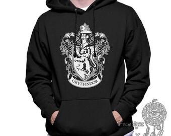 Gryffin Crest #1 White printed on Black Hoodie