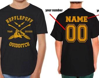 SEEKER - Custom back, Huffle Quidditch team Seeker on YOUTH tee