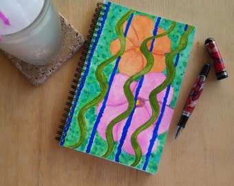 Hand Painted Pray Rain Journal; Wire Bound Blank Notebook; Spiral Journal; Manifestation Journal with Journaling Guide