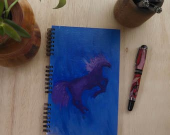 Hand Painted Spiral Journal; Wire Bound Blank Notebook; Writing Journal, Small Sketchbook, Unique Gift; Horse Silhouette