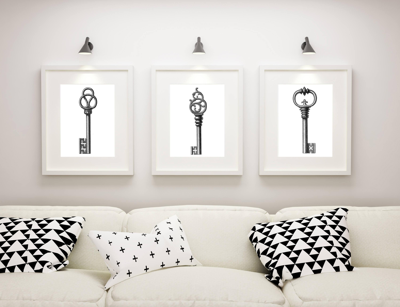 Skeleton Key Art Prints Set Of 3 Prints Matted And