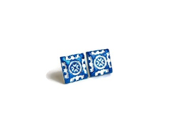 Portugal small ceramic clay tiles replica design blue white stud earrings Portuguese tiles replica earrings ceramic clay jewelry bridal gift