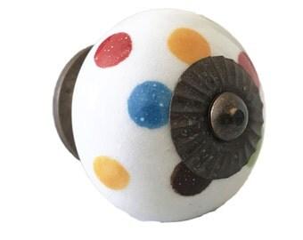 Polkadots Ceramic Knob Dresser knob, Bathroom knob, Cabinet knob, dresser pull - M160