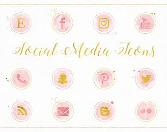 Watercolour Social Media Icons in Pink and Gold - Marketing - Social Media - Icon - Buttons - Blog - Website - PNG Transparent Digital Files